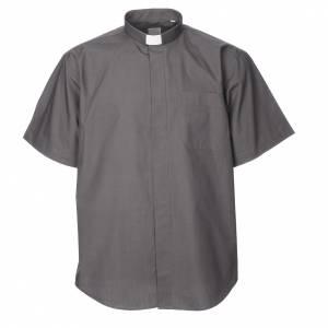 Camisas Clergyman: STOCK Camisa manga corta mezcla de algodón gris oscuro
