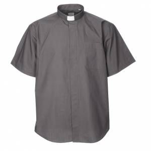 Camisas Clergyman: Camisa manga corta mezcla de algodón gris oscuro