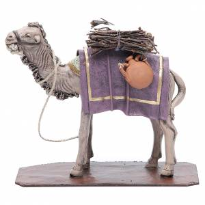 Animali presepe: Cammello in terracotta con carico 17 cm