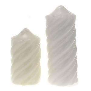 Candela natalizia torciglioni bianca diam. 7 cm s1