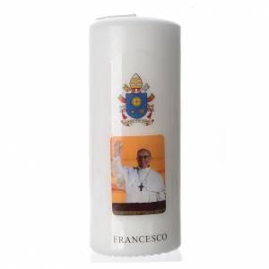 Candele, ceri, ceretti: Candela Papa Francesco 15x6 cm bianco