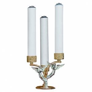 Candelabri: Candelabro angeli ottone fuso 3 bossoli h 18 cm