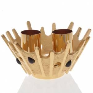 Candelabri: Candeliere doppia candela ottone dorato pietre viola