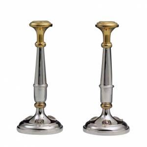 Candelieri coppia argento 800 dorato s1