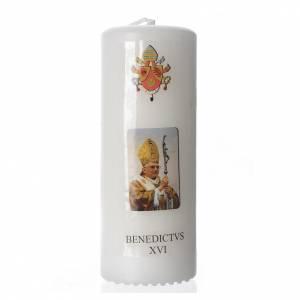 Candele, ceri, ceretti: Candelotto Benedetto XVI 13x6 cm bianco