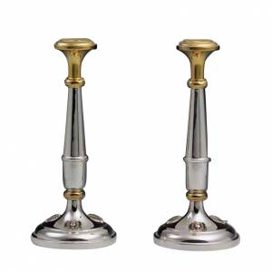 Candlesticks in golden silver 800 - Pair s1