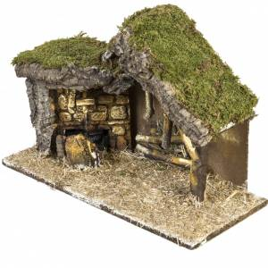 Capanne Presepe e Grotte: Capanna presepe con base legno 30x42x18 cm