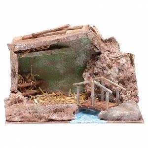 Capanne Presepe e Grotte: Capanna vicino al ruscello 20x30x15 cm per presepe