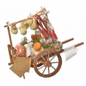 Presepe Napoletano: Carretto presepe in legno con formaggi in terracotta