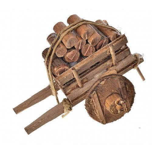Carro napoletano presepe con legna 5,5x7,5x5,5 cm s1
