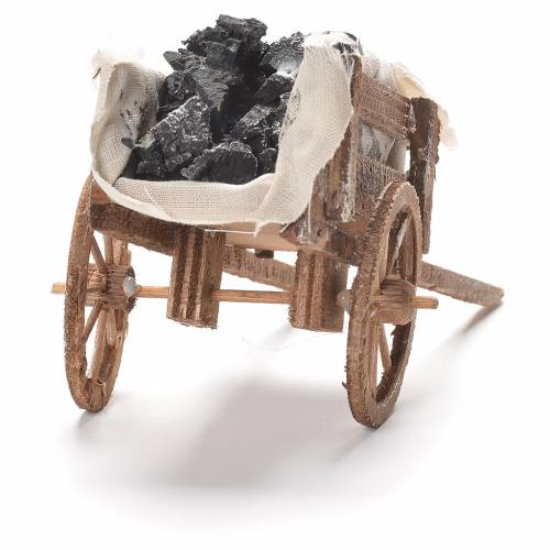 Cart with coal, Neapolitan Nativity 12x20x8cm s3