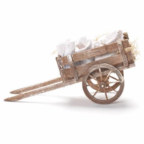 Cart with flour sacks, Neapolitan Nativity 12x20x8cm s2