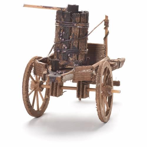 Cart with press, Neapolitan Nativity 12x20x8cm s3