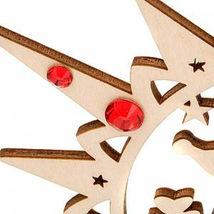 Carved star with reindeers and swarowski crystals s4