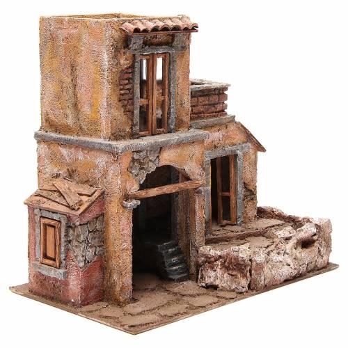 Casa con capanna presepe 35x38x25 cm s3