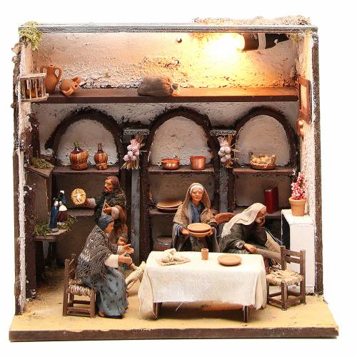 Casa illuminata con 5 personaggi 12 cm presepe Napoli s1