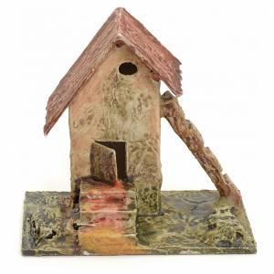 Casa con scala e scaletta per presepe in legno stuccato s1
