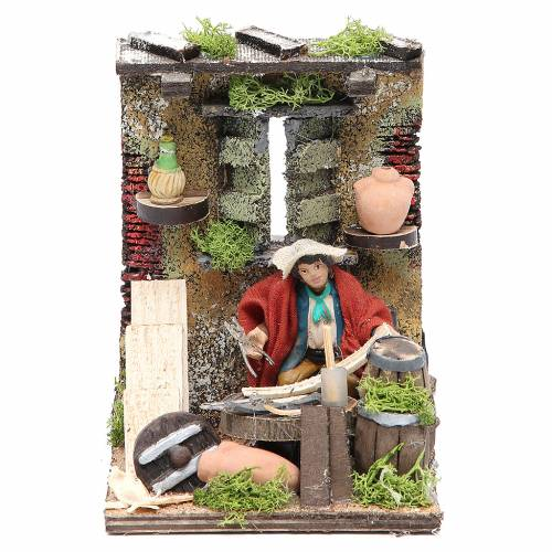 Cask mender animated figurine for Neapolitan Nativity, 10cm s1