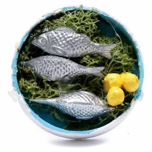 Cibo in miniatura presepe: Cassetta prodotti ittici assortiti per presepe 2x5x5 cm