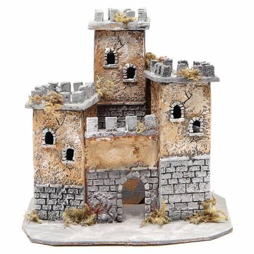 Castle for Neapolitan nativity scene in cork 28x26x26cm s1