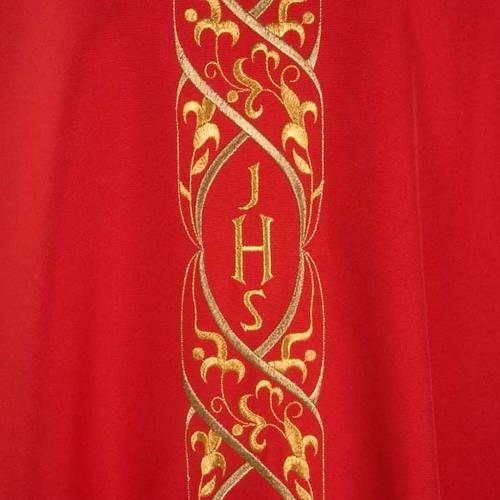 Casula liturgica con ricamo IHS s3