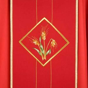 Casula liturgica eucarestia spighe uva 100% lana s3