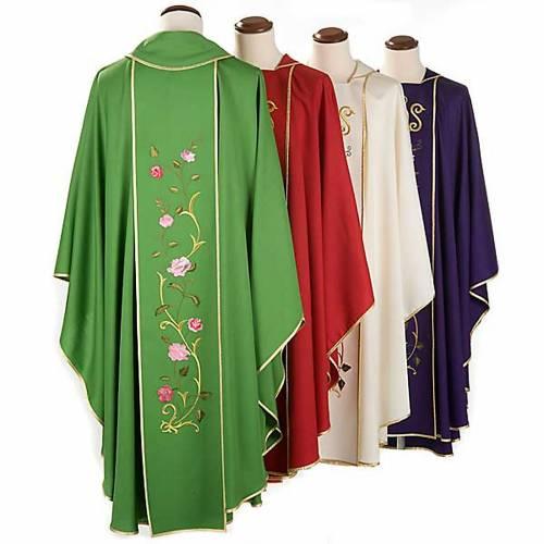 Casula liturgica IHS rose colorate 100% lana, con stola s2