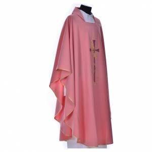 Casula rosa con ricamo croce s2