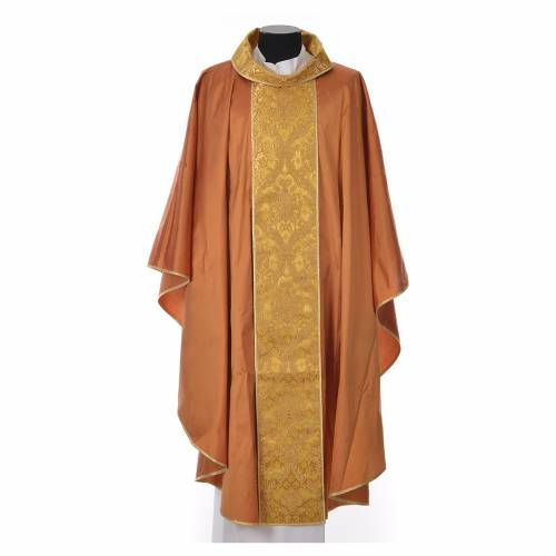 Casula sacerdotale seta 100% ricamo dorato s3
