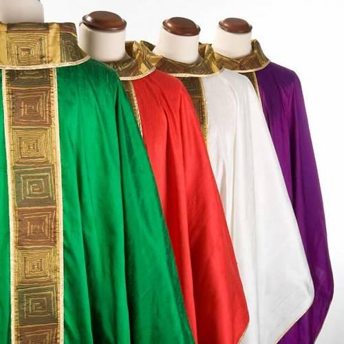 Casula sacerdotale seta 100% ricamo quadri s3