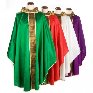 Casula sacerdotale seta 100% ricamo quadri s8
