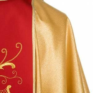 Casulla sacerdotal dorada con estolón rojo IHS rosas y flores s6
