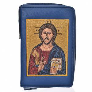 Catholic Bible covers: Catholic Bible Anglicised cover blue bonded leather with Christ Pantocrator image