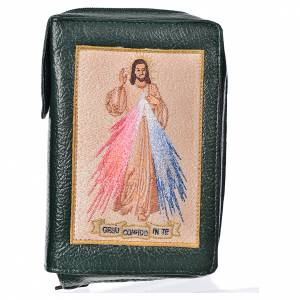 Catholic Bible covers: Catholic Bible Anglicized cover, green bonded leather with image of the Divine Mercy