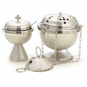 Thuribles and boats: Censer and boat in nickel plated brass