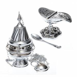 Censer and boat in polished silver s1