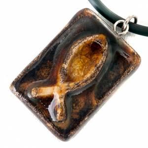 Ceramic pendant, square with fish s4