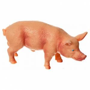 Animales para el pesebre: Cerdo resina para el belén de 10 a 12 cm.