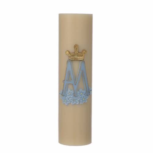 Cero da altare simbolo Mariano cera api diam cm 8 s1