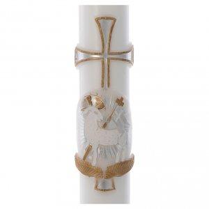 Cero pasquale Agnello croce argento cera bianca 8x120 cm s2