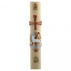 Candele, ceri, ceretti: Cero pasquale cera d'api agnello oro e rosso croce 8x120 cm