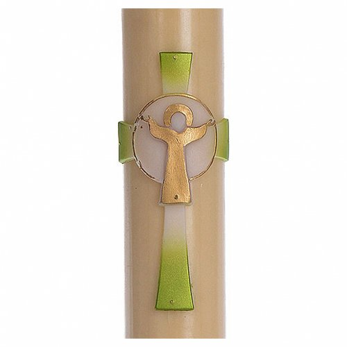 Cero pasquale cera d'api RINFORZO Croce Risorto verde 8x120 cm s2