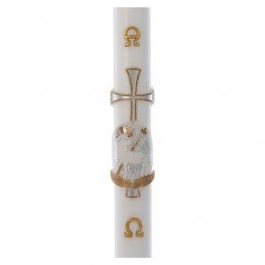 Candele, ceri, ceretti: Cero pasquale RINFORZO Agnello croce argento cera bianca 8x120 cm
