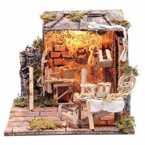 Chair mender Neapolitan Nativity scene, 24x26x24cm s1
