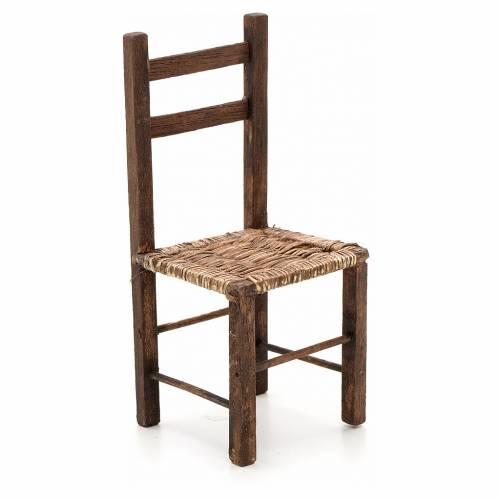 Chaise empaillée miniature crèche Napolitaine 14 s1