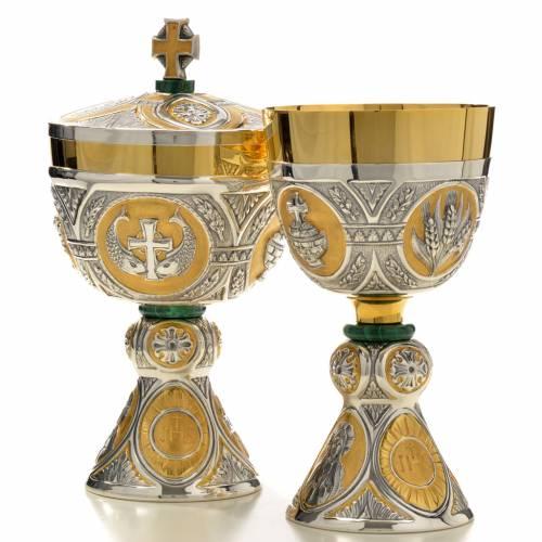Chalice and Ciborium in brass and malachite mod. Tassilo, hand s2