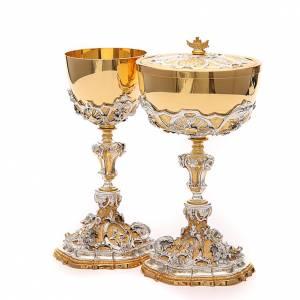 Metal Chalices Ciborium Patens: Chalice and ciborium with Sacred Heart of Jesus