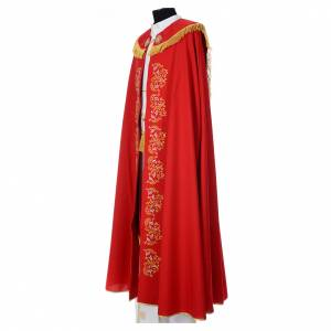 Chapes, Chasubles Romaines, Dalmatiques: Chape liturgique broderies florales 100% polyester