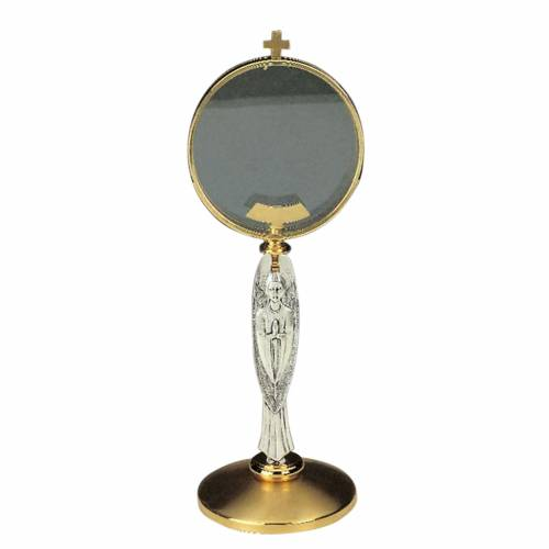 Chapel monstrance with angel,  brass, 15 cm diameter 1