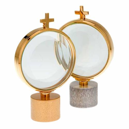 Chapel monstrance with cylindrical base, brass 8.5 cm diam s1